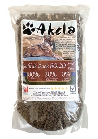 Akela 80/20 Suffolk Duck Grain Free Small Paws 1,5 kg